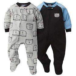 GERBER Baby Boys 2-Pack Blanket Sleeper, Gray Bear, 0-3 Months