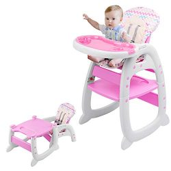 Highchair, 2 in 1 Convertible Play Table Set, Kids Table and Chairs, 5-Point Harness, with Remov ...