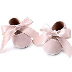 Baby Girls Mary Jane Flats Anti-Slip Rubber Sole Bow Toddler Princess Dress Shoes (4.72 inches ( ...