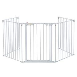Bonnlo 121-Inch Wide Metal Baby Safety Fence/Play Yard Adjustable Fireplace Hearth BBQ Fire Gate ...
