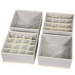 TENABORT 4 Pack Foldable Drawer Organizer Dividers Cloth Storage Box Closet Dresser Organizer Cu ...