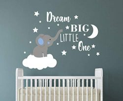 Dream Big Little One Elephant Wall Decal, Quote Wall Stickers, Baby Room Wall Decor, Vinyl Wall  ...