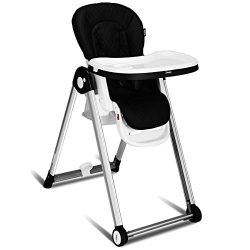 INFANS Folding High Chair for Babies &Toddlers, Space Saving with Multiple Adjustable Backre ...