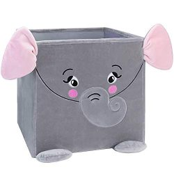 Elephant Toy Storage Bins,Chener Plush Toy Boxes for Kid Smell Free Cube Organizer Collapsible T ...