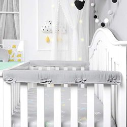 Designthology (U.S.) 2-Pack Super Breathable Narrow Crib Rail Cover for 2 Side Rails – 100 ...