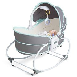 BABY JOY Portable Baby Rocking Bassinet, 5 in 1 Baby Cradle Swing with Music and Toys, Multi-Fun ...