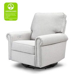 Million Dollar Baby Classic Linden Power Recliner and Swivel Glider in Light Grey Tweed | USB Ch ...