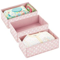mDesign Soft Fabric Polka Dot Dresser Drawer and Closet Storage Organizer for Child/Kids Room, N ...