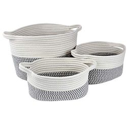 Bins & Things Cotton Rope Basket – Set of 3 Woven Basket – Sturdy Baby Nursery T ...