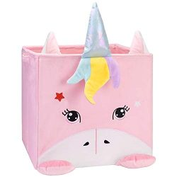 Chener Unicorn Toy Storage Bins, Plush Toy Box for Kids Smell Free Velvet Cube Organizer Collaps ...