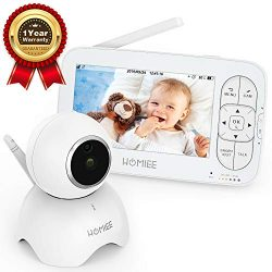 HOMIEE Video Baby Monitor, with 720P Digital Camera, 5″ LCD Screen up to 1000 Ft Range, Re ...