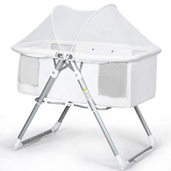 INFANS 2 in 1 Rocking Bassinet for Newborn Baby, One-Second Fold Travel Crib with Detachable &am ...