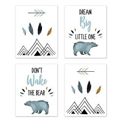 Sweet Jojo Designs Slate Blue and White Wall Art Prints Room Decor for Baby, Nursery, and Kids f ...