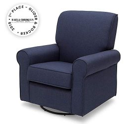Delta Children Avery Upholstered Glider Swivel Rocker Chair, Sailor Blue