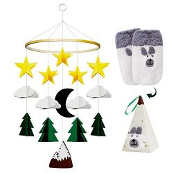 Baby Crib Mobile Crib Hanging Toy Handmade Infant Bed Decoration Starry Clouds Woodland and Hot  ...