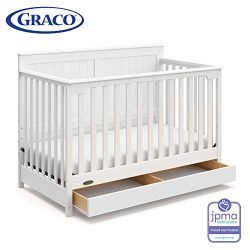 Graco Hadley 4-in-1 Convertible Crib with Drawer, White, Easily Converts to Toddler Bed Day Bed  ...
