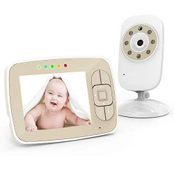 Baby Monitor,3.5″ Large Screen Wireless Video Baby Monitor with Camera and Audio, Two-Way  ...