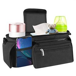 Universal Baby Stroller Organizer with Insulated Cup Holders- Bag Organizer with Shoulder Strap  ...