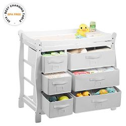 Kealive Baby Changing Table, Diaper Changing Table with 6 Baskets, Nursery Station with Pad and  ...