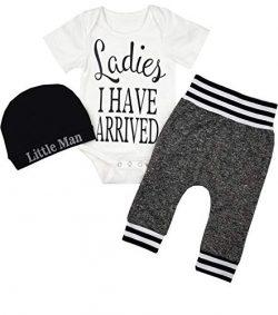 Newborn Baby Boy Clothes Ladies I Have Arrived Letter Print Romper+Long Pants+Hat 3PCS Outfits S ...