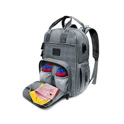 Diaper Bag Backpack Insulated Waterproof Multifunctional Baby Nappy Bag with Changing Pads and D ...
