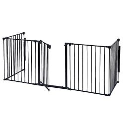 Costzon Baby Safety Gate, 120 Inch Length 5 Panel Adjustable Wide Fireplace Fence, BBQ Metal Fir ...
