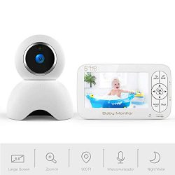 Video Baby Monitor, 5 inch Baby Monitor with 720P Camera Remote Pan/Tilt/Zoom, Two-way Audio, Cr ...