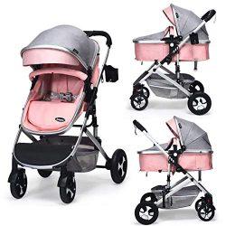 INFANS Baby Stroller for Newborn, 2 in 1 High Landscape Convertible Reversible Bassinet Pram for ...