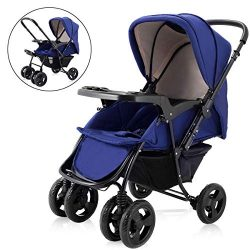 Two Way Stroller, Baby Foldable Conversable Pushchair w/ 5- Point Safety Harness, Sleeping Cushi ...