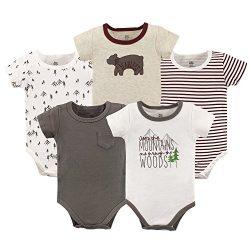 Yoga Sprout Unisex Baby Cotton Bodysuits, Mountains Short Sleeve 5 Pack, 0-3 Months (3M)