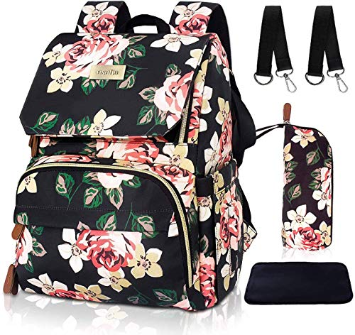 esafio Diaper Bag Backpack Floral Baby Bag Water-Resistant Mommy Backpack with Insulated Water B ...