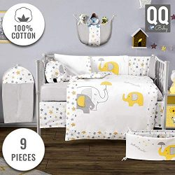 Baby Crib Bedding Set – 100% Turkish Cotton – 9 Piece Nursery Crib Bedding Sets for  ...