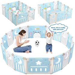 Baby Playpen, Dripex 14-Panel Foldable Kids Activity Centre Safety Play Yard Extendable Home Ind ...