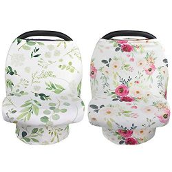 NEWITIN 2 Pieces Nursing Cover Breastfeeding Scarf Baby Car Seat Covers, Infant Stroller Cover,  ...