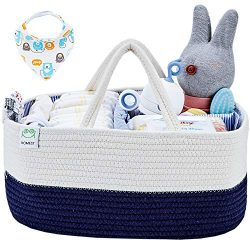 HOMEST XL Cotton Rope Baby Diaper Caddy Organizer with 1 Bandana Drool Bibs, Nursery Essentials  ...