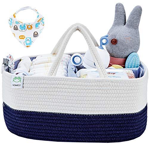 HOMEST XL Cotton Rope Baby Diaper Caddy Organizer with 1 Bandana Drool Bibs, Nursery Essentials  ...