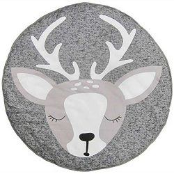 Loghot Cotton Cute Deer Pattern Baby Crawling Mat Floor Round Rug Playmat Shooting Props for Kid ...