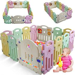 Baby Playpen for Babies Baby Play Playards 14 Panels Infants Toddler Safety Kids Play Pens Indoo ...