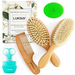 Toddler Hair Brush Comb Set-Complete Kit Baby Products Wooden Soft Bristle Brush Wooden Comb Bab ...