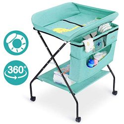 FORSTART Baby Changing Table with Wheels, Adjustable Height Folding Diaper Station Portable Mobi ...