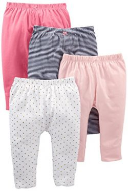 Simple Joys by Carter's Baby Girls' 4-Pack Pant, Navy Stripe, White Dot, Pink, 18 Months