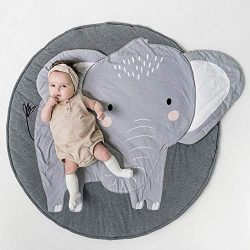HILTOW Round Cartoon Elephant Nursery Rug Baby Floor Playmats Crawling Mat Game Blanket for Kids ...