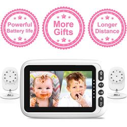 2 Cameras with 4.3″ Video Baby Monitor, Auto-Switch Cameras, Up to 8 Hours 1200mAh Recharg ...