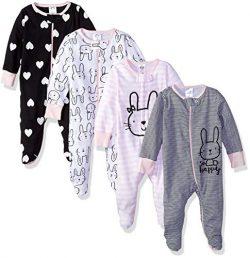 Gerber Baby Girls' 4-Pack Sleep N' Play, Bunny, 0-3 Months
