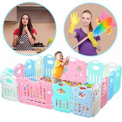 Baby Playpen Kids Activity Centre Safety Play Yard (Safe Set 16 Panel) Home Footloose Indoor Out ...