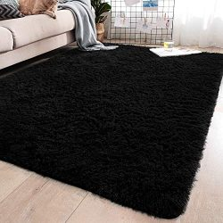 YJ.GWL Soft Black Shaggy Area Rugs for Girls Room Bedroom Non-Slip Kids Carpet Baby Nursery Deco ...
