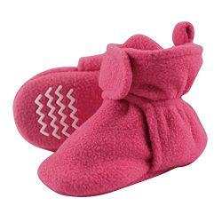 Hudson Baby Baby Cozy Fleece Booties with Non Skid Bottom, Dark Pink, 0-6 Months