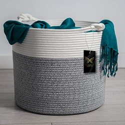 Large Cotton Rope Basket | Blanket Basket for Living Room | Woven Basket Use for Throw Pillow, C ...