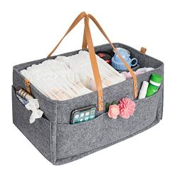 Baby Diaper Caddy,HBlife Nursery Storage Bin Portable Diaper Storage Caddy with Changeable Compa ...