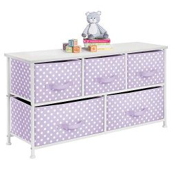 mDesign 5-Drawer Dresser Storage Unit – Sturdy Steel Frame, Wood Top and Easy Pull Fabric  ...